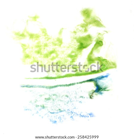 stain green,blue with watercolour paint stroke watercolor isolated