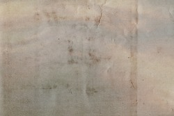 Stained, faded, torn, cracked, scratched, dirty, and distressed paper texture. Subtle gradient coloring and halftone pattern. Lighter spots on right side are from fading and decay over time.