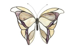 stained glass butterfly isolated on white