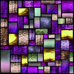 Stained glass church window in a purple tone, square orientation