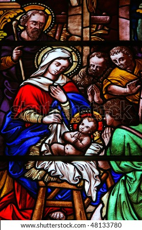 Stained glass church window (made at the end of the 19th Century) depicting the Nativity