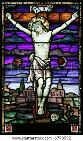 stained glass crucifixion of christ