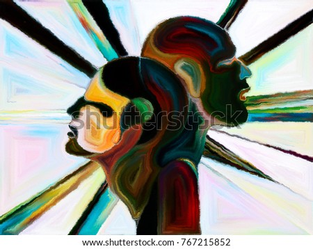 Stained Glass Forever series. Arrangement of human profiles, symbols and color patterns on the subject of design, creativity and imagination - Shutterstock ID 767215852