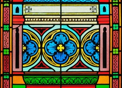 Stained glass in a cathedral.