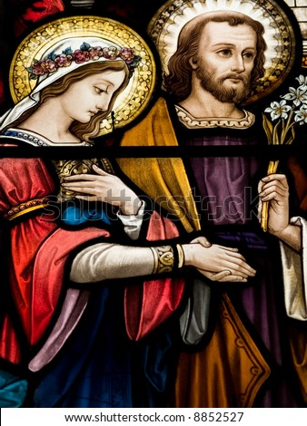 Stained glass in Catholic church in Dublin showing wedding of Mary and  Joseph