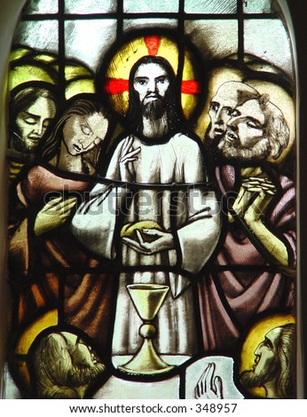 stained glass in Catholic church. Last supper