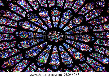 Stained glass inside Notre Dame