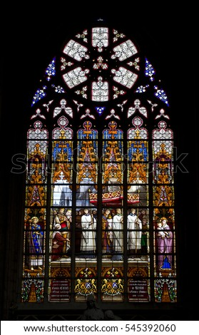 Stained glass interior of European building church chapel #545392060