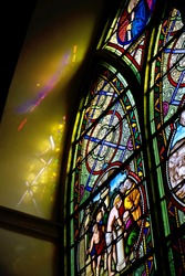 Stained glass is beautiful in the church.