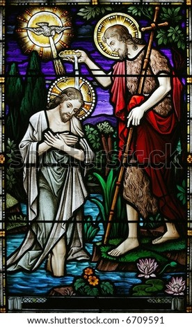 stained glass john baptizing jesus