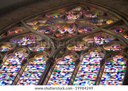 Stained glass of gothic window in Cologne Dom.