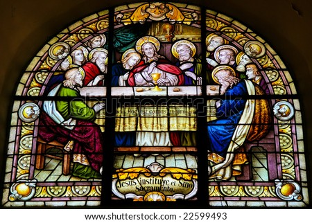 Stained Glass of the Last Supper in the cathedral of Salta (Argentina). Stained glass was made in 1914