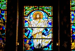 Stained glass showing risen of Jesus