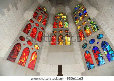 Shutterstock Stained glass window at the entrance of the Sagrada Familia in Barcelona