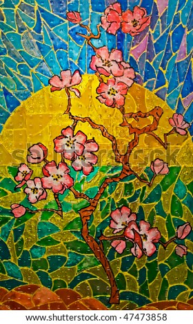 Stained-glass window. Blossoming garden.