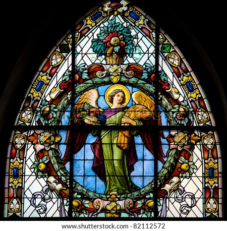 Stained glass window depicting an angel. This window is located in Saint James's Church (Swedish: Sankt Jacobs kyrka) in Stockholm, Sweden.