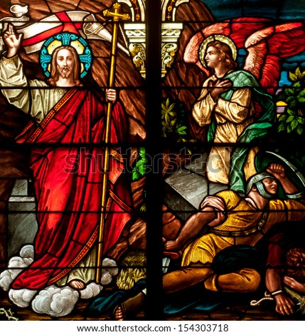 Stained Glass Window Depicting Bible Story Of Easter Resurrection Of Jesus Christ