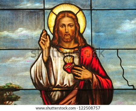 Stained glass window depicting Sacred Heart of Jesus