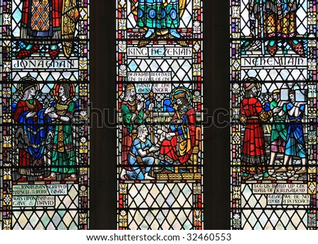 Stained glass window from Bath Abbey, in Bath, Somerset, England