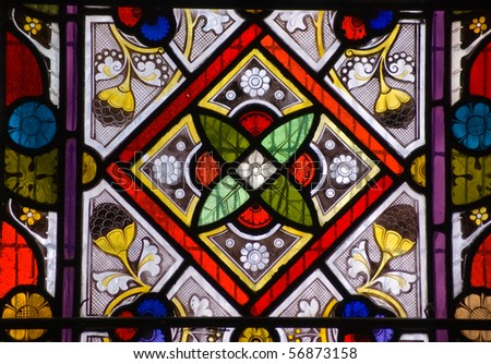 Stained glass window - geometric pattern A Victorian stained glass window with a geometric pattern.  On public display for over 100 years.