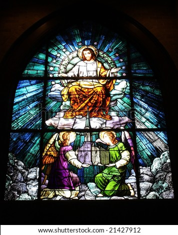 Stained glass window in a Catholic Church.