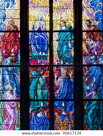 Stained-glass window in Catholic temple. See my portfolio for more