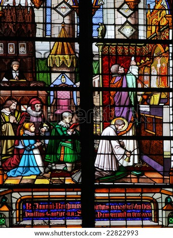 Stained glass window in Saint Rumboldts cathedral in Mechelen, made in the 19th Century.