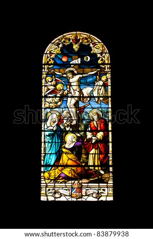 Stained glass window in San Jeronimo el Real Church, Madrid, Spain