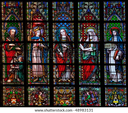 Stained glass window in the Church of Our Lady of Sablon (Notre Dame du Sablon) made in 1861 by the artist Samuel Coucke (1833-1899)