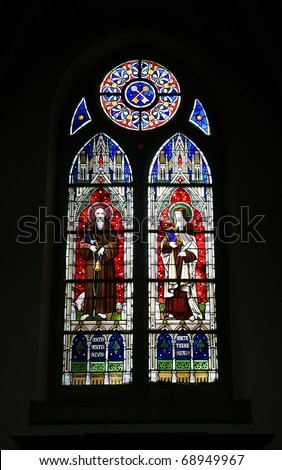 stained glass window in the gothic church in Aubel, Belgium