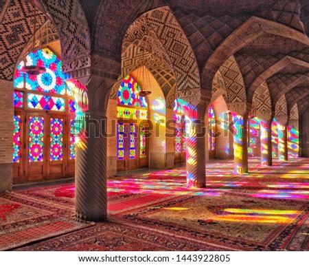 Stained glass window light Nasir al-Mulk Mosque in Shiraz, Iran #1443922805