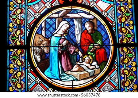 Stained Glass Window Nativity Scene from a Cathedral in Basel, Switzerland
