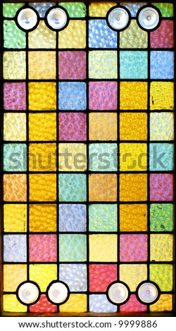 Stained glass window of squares
