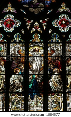 Stained glass window of the ascension of Christ