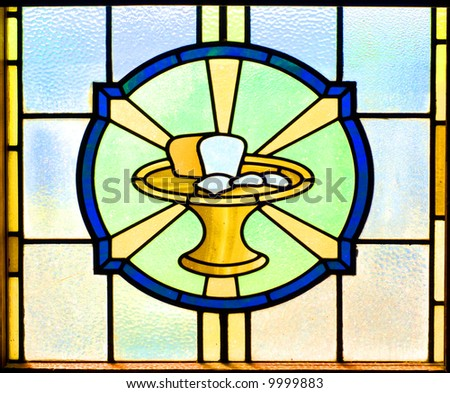 Stained glass window of the bread of life