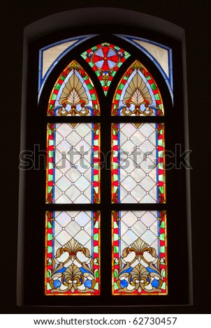Stained glass window on black background