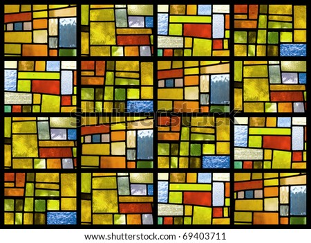 Stained glass window pattern in a greenish tone #69403711