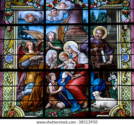 Stained glass window with Christmas scene - stock photo