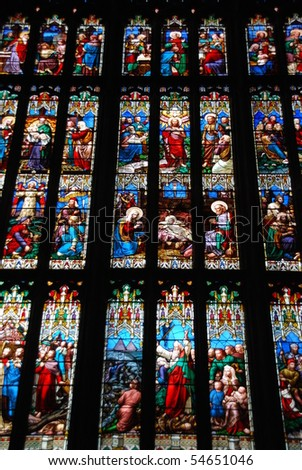 stained glass windows in Gloucester Cathedral, England (United Kingdom)