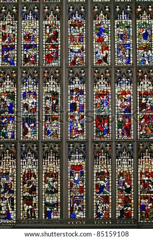 Stained glass Windows showing various religious motives