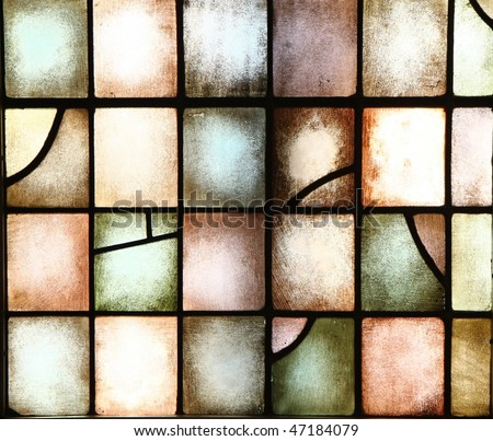 stained glass windows within a beautiful church make a nice background - stock photo