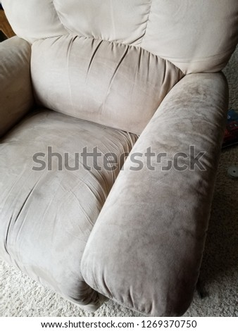 Stained Microfiber Rocking Chair Recliner Stock foto ©