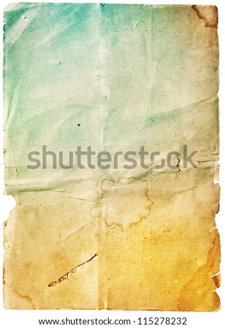 Stained old paper with rough edges, blue colored