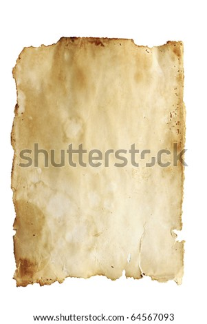 Stained old paper with rough edges isolated on a white background.
