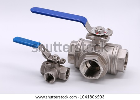 Stainless ball valve 3way isolated on white background