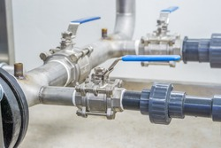 Stainless ball valves in pipes used for water supply,off to control the flow of water.manual valves,selective focus.