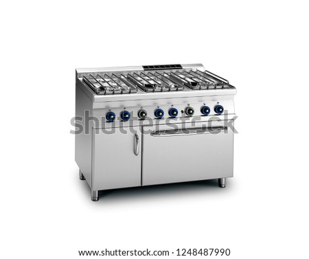 stainless commercial oven with burners