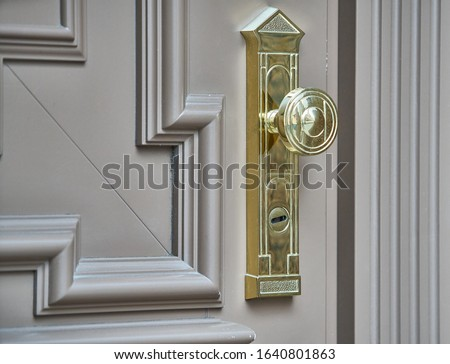 Photo of  stainless door knob or handle on wooden door in beautiful lighting.