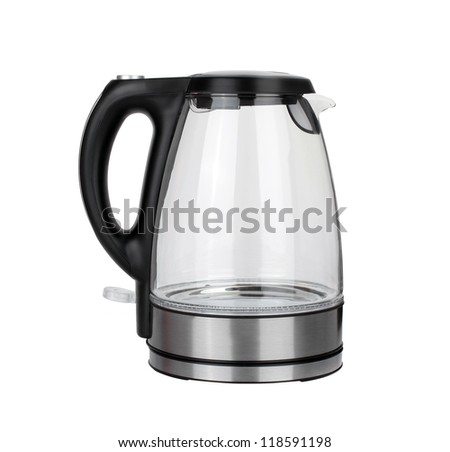 stainless electric kettle isolated on white background