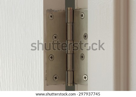 stainless hinges on a white door #297937745
